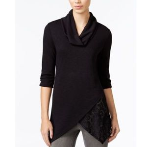 BCX Sweaters - BCX Juniors Cowl-Neck Top, Black, XL